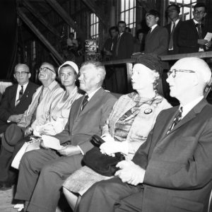 Honoured guests at the launch of Bluenose II on July 24, 1963 (l-r): Captain Angus Walters, W.J. Roué, Mrs. Pullen & Rear Admiral Hugh Pullen, and Mrs. MacKeen and Lieutenant Governor Henry Poole MacKeen (copyright Knickes Studio)